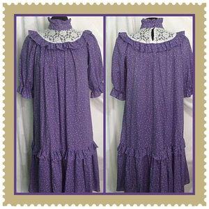 Vintage Purple Print Gingham Dress Size Medium